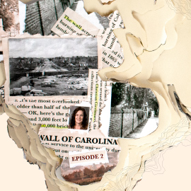 newspaper clippings showing the historical images of the wall being built around the horseshoe