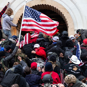 Rioters clash with police as they try to enter the Capitol building on Jan. 6, 2021
