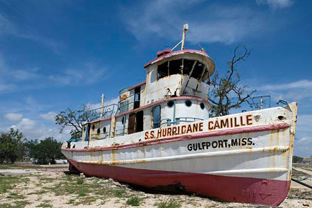 Boat stranded after Hurricane Katrina