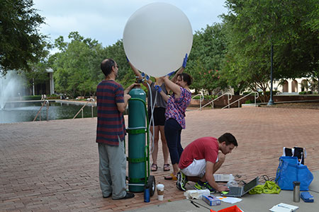 Geography researchers launch weather baloon