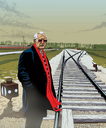 artist rendering of mohammed dajani beside a railroad switching station