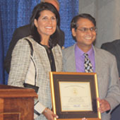 Milind Kunchur and Gov. Nikki Haley