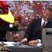 Cocky with ESPN's College GameDay host