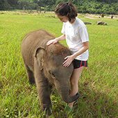 Erin Steiner and baby elephant