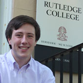 Algernon Sydney Sullivan Award winner Connor Bain sits on the stoop of Rutledge College, the senior's home at Carolina for the past two years.