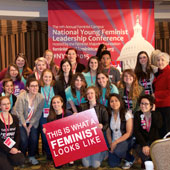 Clarie Randall and the members of the Feminist Collective.