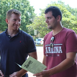 Andrew Mohs (right), serves as UofSC's president of the Student Veterans Association.